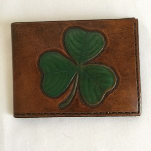 Handcrafted Leather Wallet with Shamrock Design